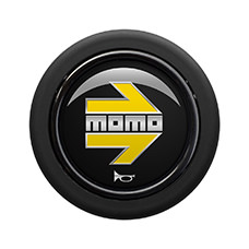 Bouton de klaxon MOMO Glossy Black Yellow Chromed logo