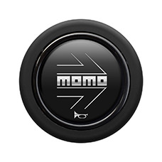 Bouton de klaxon MOMO Matt Black Chromed logo